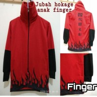 jaket jubah anak Naruto hokage finger merah/putih