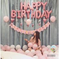 Set Foil Banner Happy Birthday Simple Pink / Paket Balon Ulang Tahun