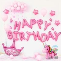 SET Balon Foil Happy Birthday Unicorn Biru/Pink   Dekorasi Ulang Tahun