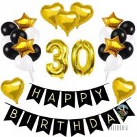SET Balon Foil Happy Birthday Black&Gold Banner / Decoration