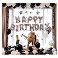 Set Foil Banner Happy Birthday Black & White / Paket Balon Ulang Tahun
