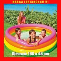 Kolam Renang Karet Anak Intex Pompa Angin Rainbow Ukuran 168 x 46 cm
