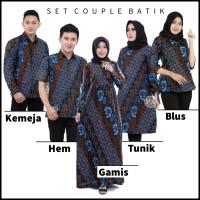 Baju Couple Sarimbit Batik Keluarga Seragam Kantor - Seno Biru