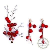 Vintage Red Jewelry Pearl Crystal Hair Pins and Tassel Clip Earrings