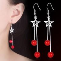 Anting Panjang Aksesoris S925 Silver Tassel Earrings Red Bead
