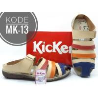 Sandal Slip On Kickers Wanita Kode MK-13 Cream Merah