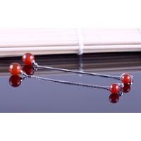 Anting 925 Silver Earrings Tassel Red Bead Earring Korea Fashion
