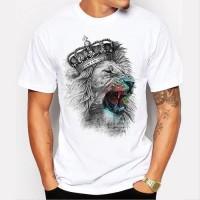 [Bayar Di Tempat]Fashion Pria: Kaos T-Shirt Motif Grafiti Singa