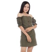 CDR268 | Alessia Sabrina Dress Bodycon Gaun Mini Off Shoulder - OLIVE
