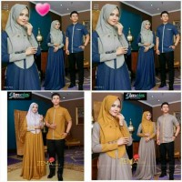 PROMO Baju Couple Sarimbit Koko Turki Gamis Syari Warna Navy Mustard