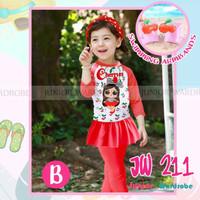 (2-13y) Baju renang Anak LOL Red Cherries Dengan Armban Merek JW