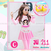 (2-13y) Baju Renang Anak LOL Flaminggo Pink Dengan armband Merek JW