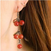Anting Tassel Cherry Red Beautiful Earring Anting Gantung Ceri