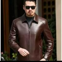 jaket kulit domba asli kulit elco halus lembut warna coklat