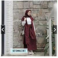 set emma 3 in 1 pakaian muslim baju gamis pakaian wanita - Abu-abu