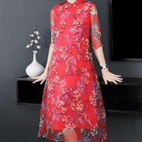 TERMURAH BAJU DRESS IMLEK WANITA CHEONGSAM CHINA CINA 2020 MERAH TUTU
