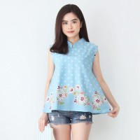 QQinian Blouse Tata Atasan Batik Wanita Warna Biru Motif Bunga Putih