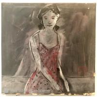 Lukisan Asli Lulus Santosa - Wanita baju merah, oil on canvas