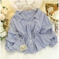 blouse shirt peplum baju atasan wanita hem kemeja bluss korea garis