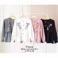 blouse peplum bunga vintage atasan baju korea bluss wanita anak remaja