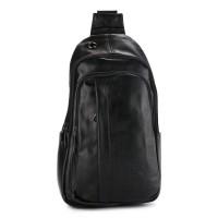 Urban State - Distressed Leather Pocket Slingbag - Black