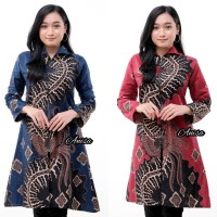 Baju batik wanita tunik zipper depan lengan panjang 011