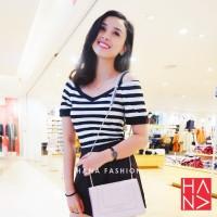 Salur Sabrina Stripe T-Shirt Kaos Belang Wanita Hitam Putih - TS068