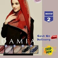 wKf ~ log706 Jilbab Segi Empat Lilac Cotton French Motif 2 New