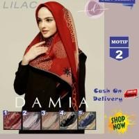 CAT34 Jilbab Segi Empat Lilac Cotton French Motif 2 New By Damia Scarf