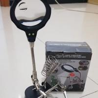 magnifier lamp dengan pen brush stand dan clip