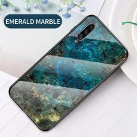 Samsung Galaxy A50 Luxury Marmer Back Cover Case Tempered glass
