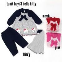 Baju Setelan Muslim Bayi Perempuan Tunik 3 Hello Kitty Set Hijab