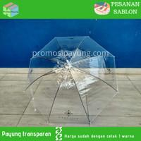 [pesanan sablon] payung transparan putih sablon 1 warna 2 gambar
