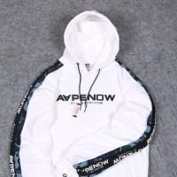 jaket hoodie off white / jaket bape x off white / jaket pria swag