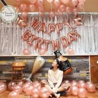 Paket Dekorasi Balon Ulang Tahun / Happy Birthday Tema Rose Gold 03