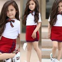 Setelan Kaos T-Shirt Putih Anak Perempuan Lengan Pendek + Rok Merah