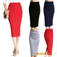 Rok Pensil Model High Waist Warna Polos Bahan Katun Elastis untuk
