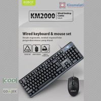 Paket Mouse Keyboard Combo Robot KM2000 Wired Gaming Mouse + Keyboard