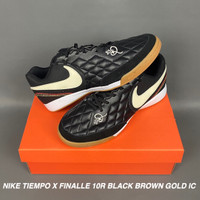 SEPATU FUTSAL NIKE TIEMPO X FINALLE 10R BLACK BROWN GOLD IC