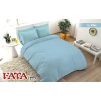 Full Set Bedcover Polos Emboss Fata King 180 Warna Ice Blue Biru