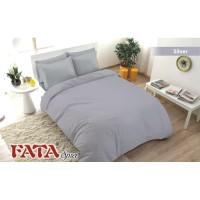 Full Set Bedcover Polos Emboss Fata King 180 Warna Silver Abu-abu