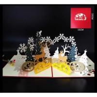 Kartu Ucapan 3d - 4D Mewah Timbul Chrismast Rusa/ Kartu ucapan Natal