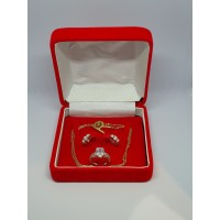 Kotak Perhiasan Persegi Tempat Penyimpanan 1 Set Kalung Anting Cincin