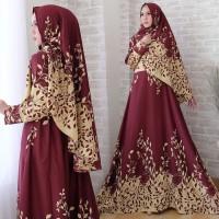 [Arimby syari MAROON NI] gamis muslim wanita balotelly maroon
