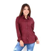 Atasan Kemeja Wanita Rayon Basic Polos Warna Ungu Anggur Fit to XL