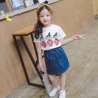 setelan kaos + rok jeans mini anak perempuan import/setelan anak impor
