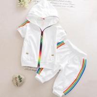 setelan baju bayi anak white putih hoodie sporty keren