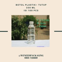 Botol Plastik Aqua Putih 330 ml + tutup / 100 pcs Khusus Gojek