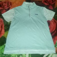 kaos baju half zip tenis sport olahraga joging lari cewe original fila