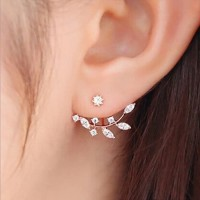 Anting Korea Daun Kristal Crystal Leaf Rhinestone Curved Clip Earring